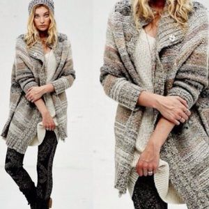 Free People Oversized Cardigan Knit Poncho Sweater